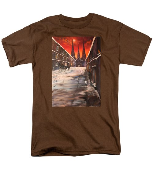 Men's T-Shirt  (Regular Fit) featuring the painting Lichfield Cathedral A View From The Close by Jean Walker