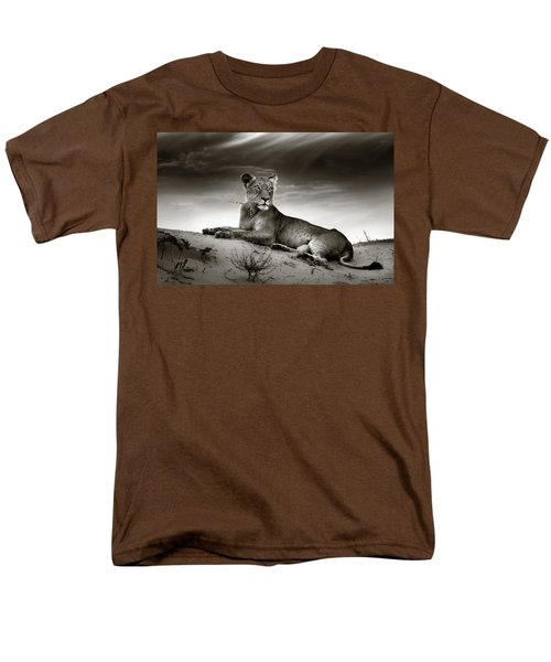 Lioness On Desert Dune Men's T-Shirt  (Regular Fit) by Johan Swanepoel