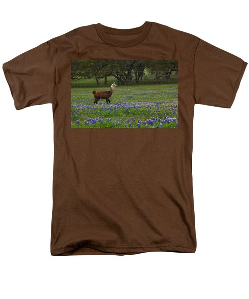 Llama In Bluebonnets Men's T-Shirt  (Regular Fit) by Susan Rovira