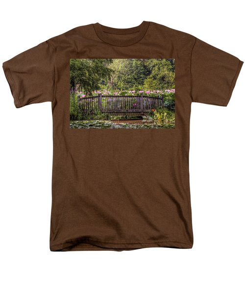 Men's T-Shirt  (Regular Fit) featuring the photograph Lotus Garden Pond And Bridge by Jerry Gammon
