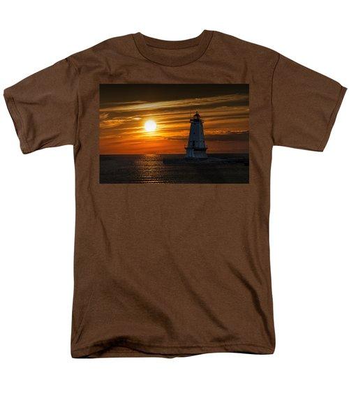 Ludington Pier Lighthead At Sunset Men's T-Shirt  (Regular Fit) by Randall Nyhof