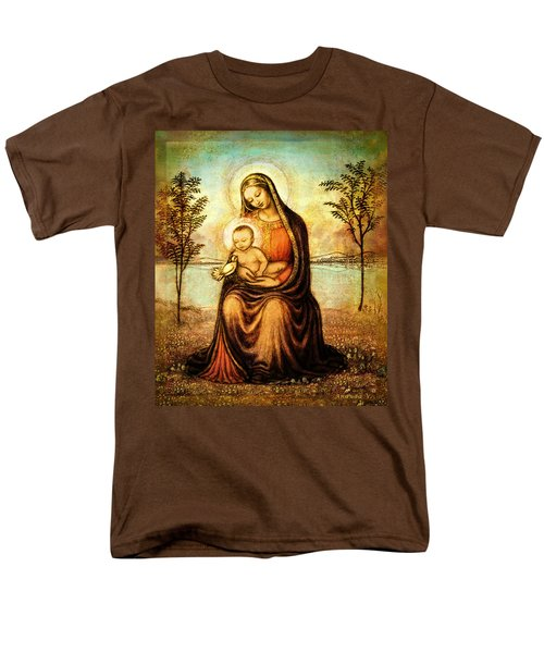 Men's T-Shirt  (Regular Fit) featuring the mixed media Madonna With The Dove by Ananda Vdovic