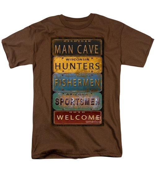 Man Cave-license Plate Art Men's T-Shirt  (Regular Fit) by Jean Plout