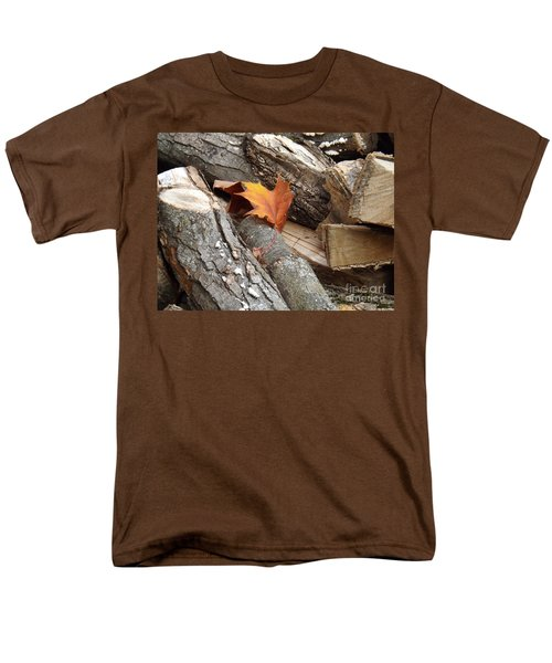 Maple Leaf In Wood Pile Men's T-Shirt  (Regular Fit) by Brenda Brown
