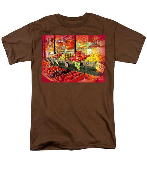 Men's T-Shirt  (Regular Fit) featuring the photograph Apples And Plums In Red - Outdoor Markets Of New York City by Miriam Danar