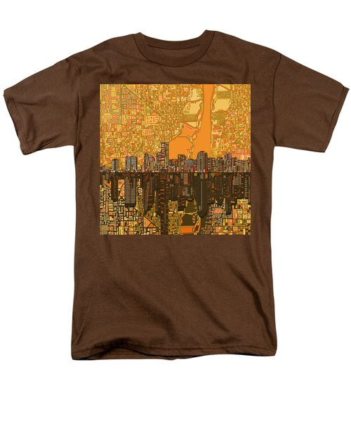 Miami Skyline Abstract 5 Men's T-Shirt  (Regular Fit) by Bekim Art