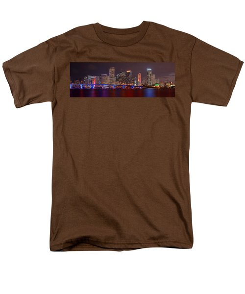 Miami Skyline At Night Panorama Color Men's T-Shirt  (Regular Fit) by Jon Holiday