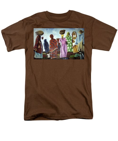 Men's T-Shirt  (Regular Fit) featuring the painting Mombasa Market by Sher Nasser