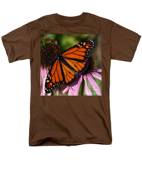 Men's T-Shirt  (Regular Fit) featuring the photograph Monarch On Purple Coneflower by Barbara McMahon