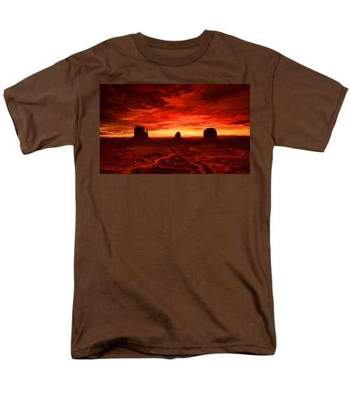 Men's T-Shirt  (Regular Fit) featuring the painting Monument Valley Sunset by Tim Gilliland