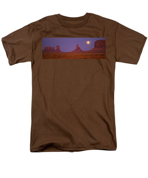 Moon Shining Over Rock Formations Men's T-Shirt  (Regular Fit) by Panoramic Images