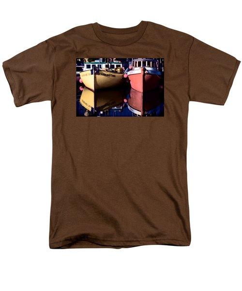 Men's T-Shirt  (Regular Fit) featuring the digital art Moored Fishing Boats by Richard Farrington