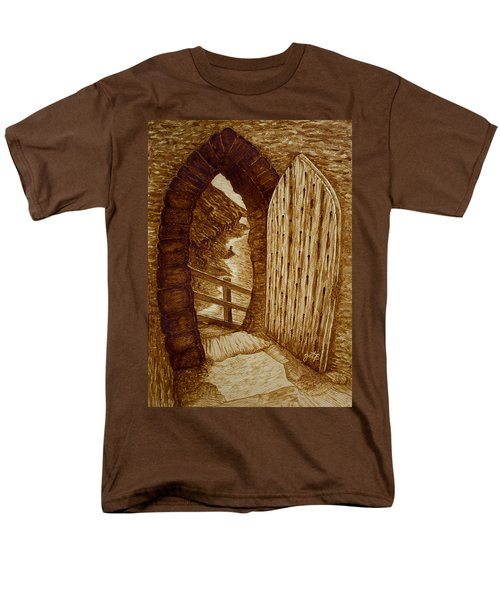 Men's T-Shirt  (Regular Fit) featuring the painting Morning Walk On The Beach Original Coffee Painting by Georgeta Blanaru