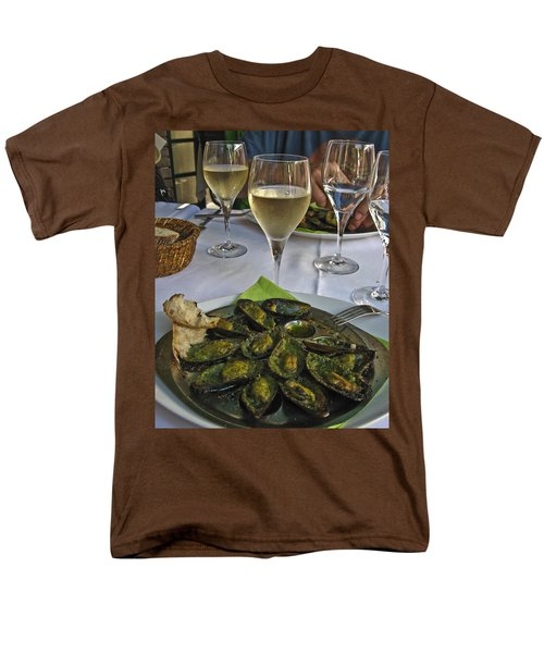 Men's T-Shirt  (Regular Fit) featuring the photograph Moules And Chardonnay by Allen Sheffield