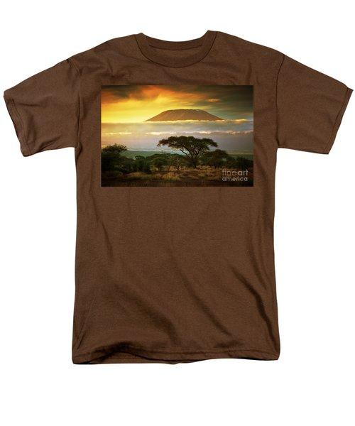 Mount Kilimanjaro Savanna In Amboseli Kenya Men's T-Shirt  (Regular Fit) by Michal Bednarek