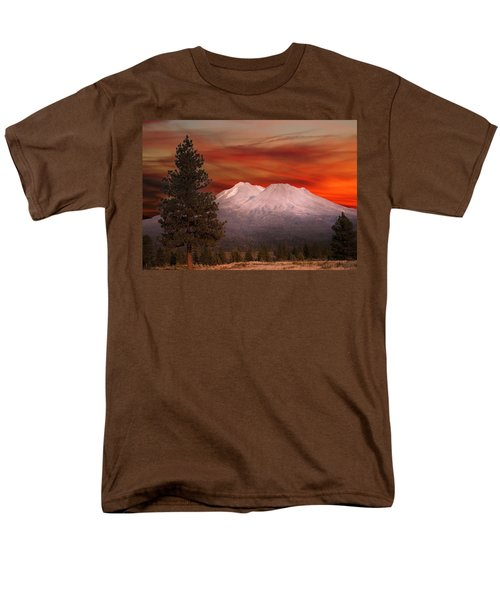 Mt Shasta Fire In The Sky Men's T-Shirt  (Regular Fit) by Randall Branham