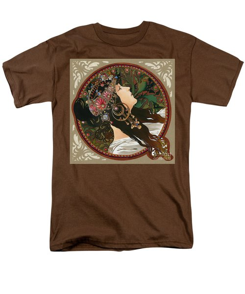 My Acrylic Painting As Interpretation Of Alphonse Mucha - Byzantine Head The Brunette Diagonal Frame Men's T-Shirt  (Regular Fit) by Elena Yakubovich
