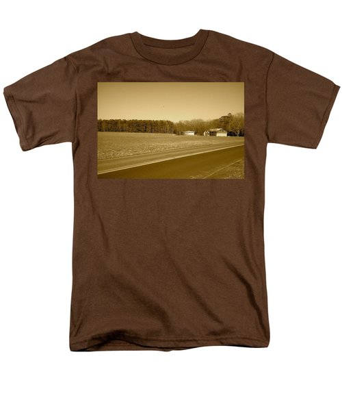 Old Barn And Farm Field In Sepia Men's T-Shirt  (Regular Fit) by Amazing Photographs AKA Christian Wilson