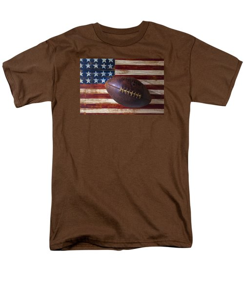 Old Football On American Flag Men's T-Shirt  (Regular Fit) by Garry Gay