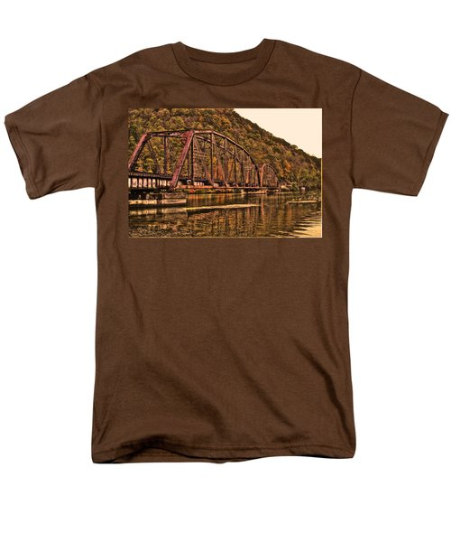 Men's T-Shirt  (Regular Fit) featuring the photograph Old Railroad Bridge With Sepia Tones by Jonny D