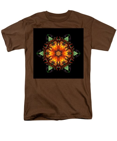 Orange Gazania IIi Flower Mandala Men's T-Shirt  (Regular Fit)