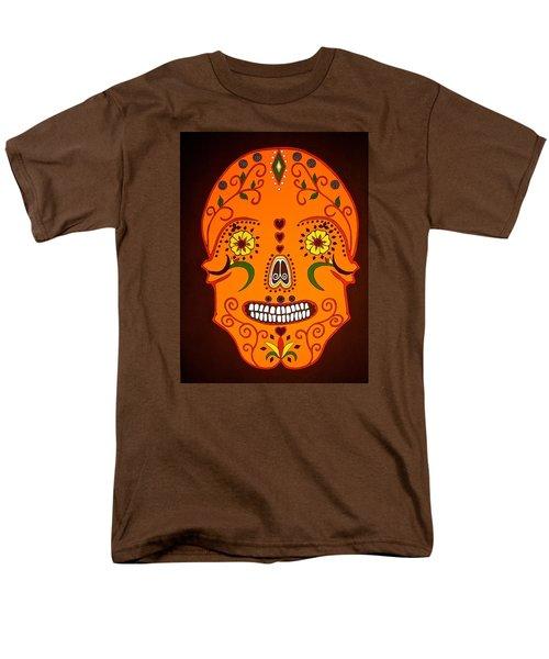 Orange Sugar Skull Men's T-Shirt  (Regular Fit) by Stephanie Moore