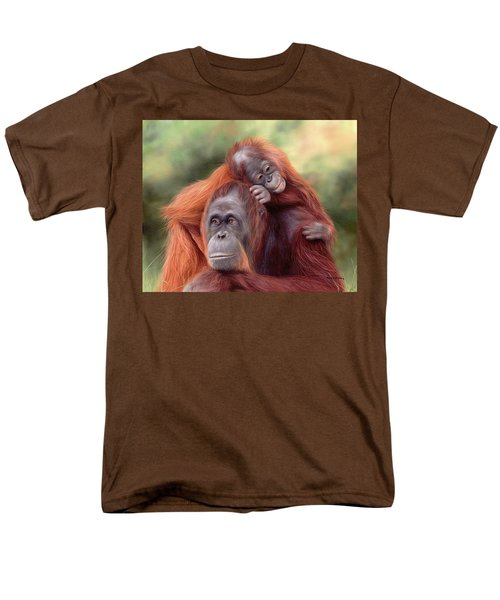 Orangutans Painting Men's T-Shirt  (Regular Fit) by Rachel Stribbling