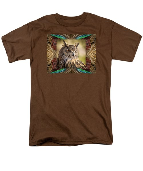 Men's T-Shirt  (Regular Fit) featuring the photograph Owl With Collage Border by Janis Knight