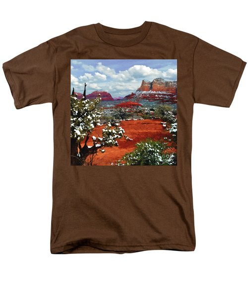 Painting Secret Mountain Wilderness Sedona Arizona Men's T-Shirt  (Regular Fit) by Bob and Nadine Johnston