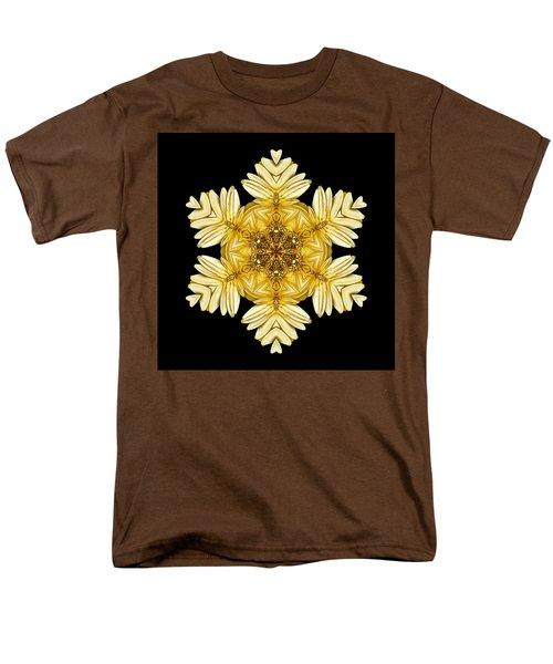 Men's T-Shirt  (Regular Fit) featuring the photograph Pale Yellow Gerbera Daisy Vii Flower Mandalaflower Mandala by David J Bookbinder