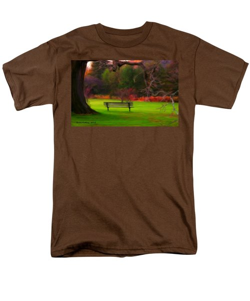 Men's T-Shirt  (Regular Fit) featuring the painting Park Bench by Bruce Nutting