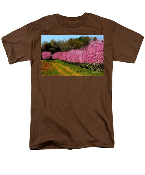 Men's T-Shirt  (Regular Fit) featuring the photograph Peach Orchard In Carolina by Lydia Holly