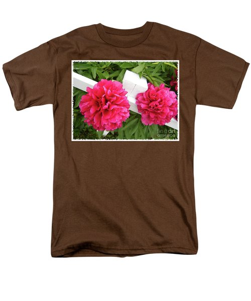 Peonies Resting On White Fence Men's T-Shirt  (Regular Fit) by Barbara Griffin