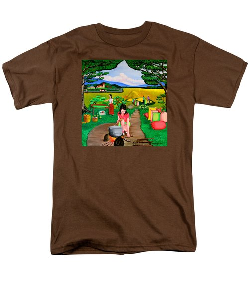 Men's T-Shirt  (Regular Fit) featuring the painting Picnic With The Farmers by Lorna Maza