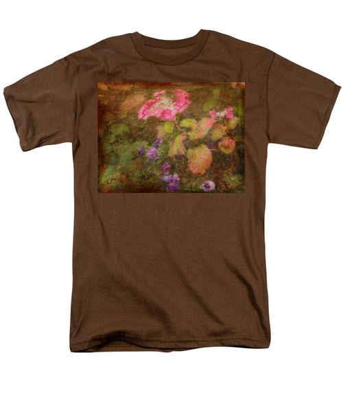 Pink Hydrangea And Purple Pansies Men's T-Shirt  (Regular Fit) by Bellesouth Studio
