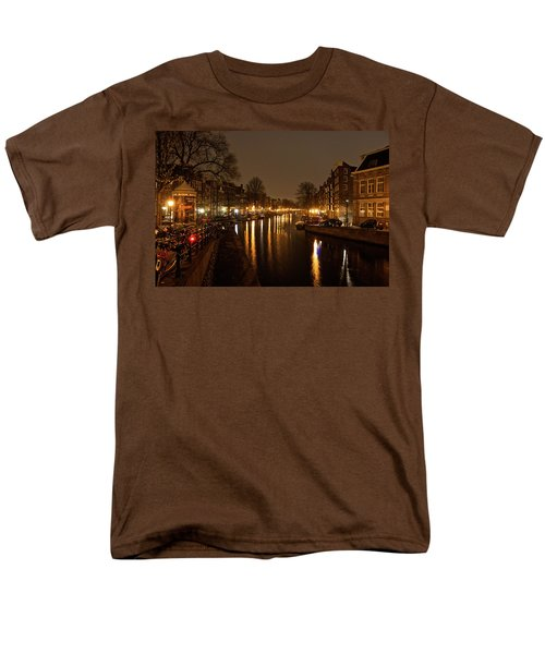 Men's T-Shirt  (Regular Fit) featuring the photograph Prinsengracht Canal After Dark by Jonah  Anderson