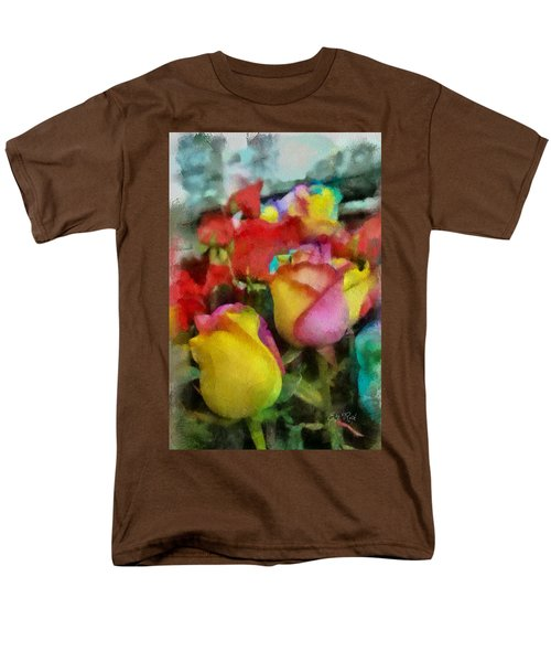 Rainbow Roses Watercolor Digital Painting Men's T-Shirt  (Regular Fit) by Eti Reid
