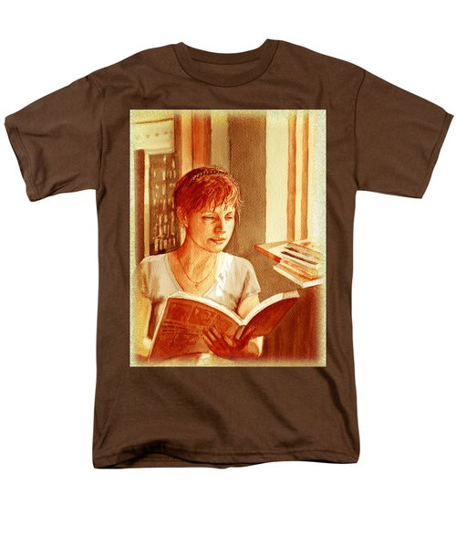 Men's T-Shirt  (Regular Fit) featuring the painting Reading A Book Vintage Style by Irina Sztukowski