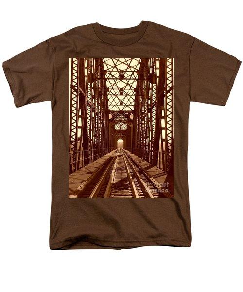 Men's T-Shirt  (Regular Fit) featuring the photograph Red River Train Bridge #1 by Robert ONeil
