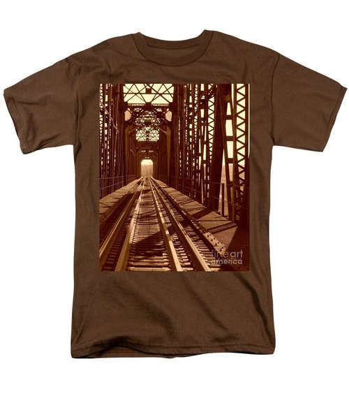 Men's T-Shirt  (Regular Fit) featuring the photograph Red River Train Bridge #2 by Robert ONeil