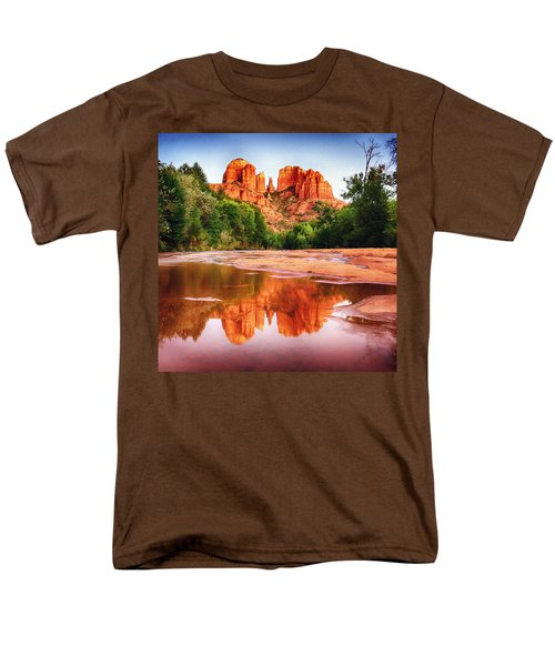 Red Rock State Park - Cathedral Rock Men's T-Shirt  (Regular Fit) by Bob and Nadine Johnston