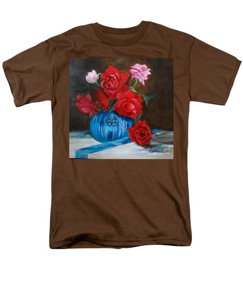 Men's T-Shirt  (Regular Fit) featuring the painting Red Roses And Blue Vase by Jenny Lee
