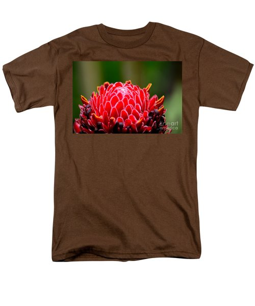 Red Torch Ginger Flower Head From Tropics Singapore Men's T-Shirt  (Regular Fit) by Imran Ahmed