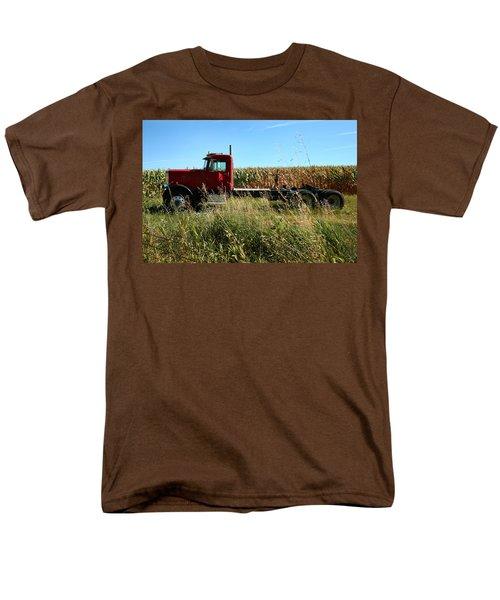 Red Truck In A Corn Field Men's T-Shirt  (Regular Fit) by Lon Casler Bixby