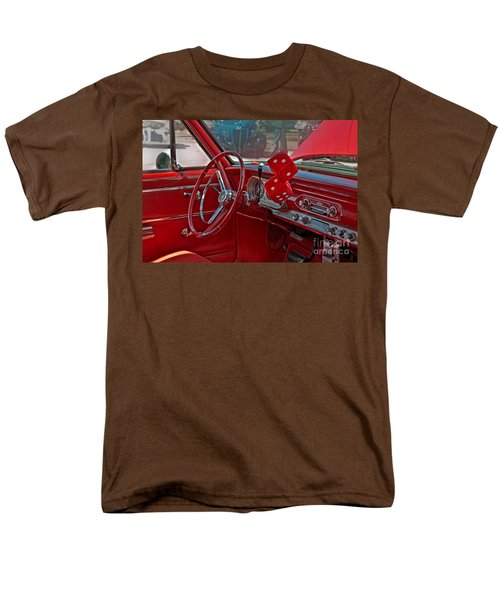 Men's T-Shirt  (Regular Fit) featuring the photograph Retro Chevy Car Interior Art Prints by Valerie Garner