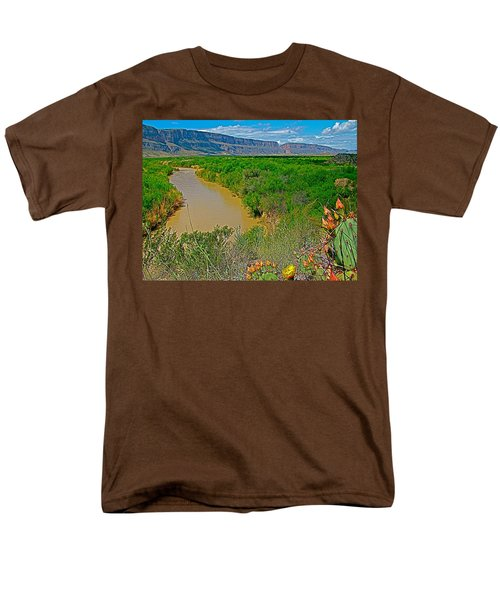 Rio Grande East Of Santa Elena Canyon In  Big Bend National Park-texas Men's T-Shirt  (Regular Fit) by Ruth Hager