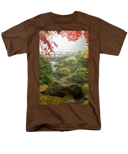 Men's T-Shirt  (Regular Fit) featuring the photograph Rock And Bridge At Japanese Garden by JPLDesigns