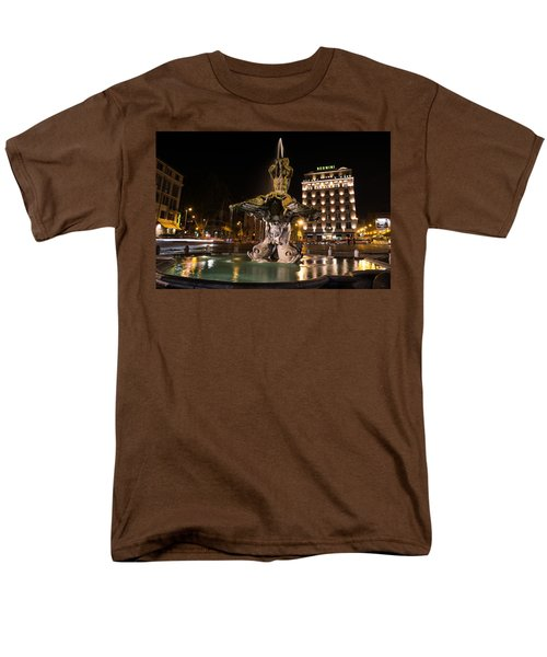 Rome's Fabulous Fountains - Bernini's Fontana Del Tritone Men's T-Shirt  (Regular Fit) by Georgia Mizuleva