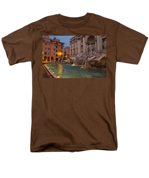 Rome's Fabulous Fountains - Trevi Fountain At Dawn Men's T-Shirt  (Regular Fit) by Georgia Mizuleva