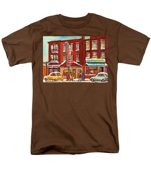 Rotisserie Le Chalet Bar B Q Sherbrooke West Montreal Winter City Scene Men's T-Shirt  (Regular Fit) by Carole Spandau
